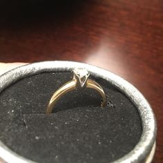 14 Kt gold and 1/4 Kt diamond ring 14 Kt yellow gold 1/4 Kt diamond  size 6 - this ring was bought for me by my husband many years ago the diamond is clear but not flawless .price is firm Jewelry Rings