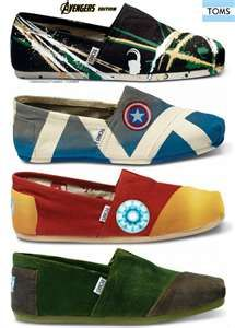 AVENGERS Themed TOMS Shoes! gotta get the Captain America ones for Ian.