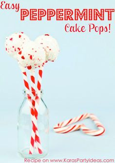 Easy and the best PEPPERMINT CAKE POPS RECIPE via Kara's Party Ideas - THE Place for ALL things PARTY! KarasPartyIdeas.com