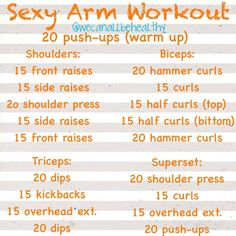 Fitness Motivation : Description Did this at home arm workout – it was killer! Triceps were way sore the next day! Just added in a few chest & back exercises at the end to make a full upper body workout. Fitness Goals, Fitness Tips, Fitness Motivation, Health Fitness, Woman Fitness, Fitness Plan, Fitness Quotes, New Shape, Get In Shape