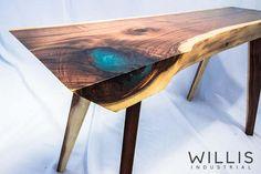Mini Side Table Walnut Slab with Blue matte epoxy - walnut legs Live Edge Wood, Live Edge Table, Handmade Furniture, Modern Furniture, Furniture Ideas, Unusual Coffee Tables, Walnut Slab, Coffee Table Legs, Rustic Industrial