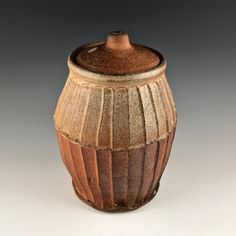 Handsome fluted stoneware jar by Randy Johnston. Purchased directly from the artist in the early 1980s.