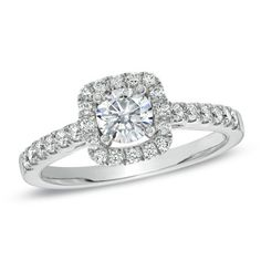 Celebration Fire™ 7/8 CT. T.W. Certified Diamond Engagement Ring in 14K White Gold (H-I/SI1-SI2) - Zales