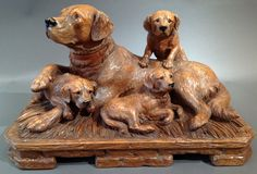 """Swiss """"Black Forest"""" Carved Dog and Puppies 1880"""