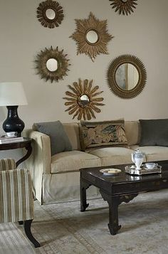 Gold Framed Mirror, Sunburst Mirror, Frame Mirrors, Modern Country, Diy Room Decor, Wall Decor, Home Decor, Mirror Gallery Wall, Vintage Mirrors