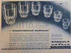 Iitta-lasit, 1938 Old Commercials, Old Ads, Glass Design, Finland, Scandinavian, Nostalgia, Advertising, Memories, Retro