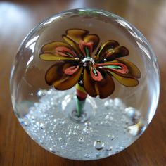 Vintage Murano Art Glass Paperweight Autumn Tone Flower Over Bubbles | eBay