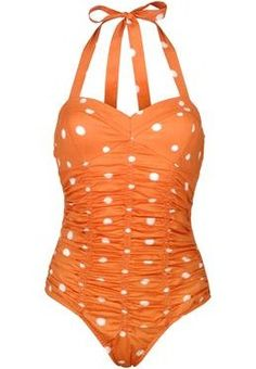 vintage style swimsuit - Orange polka dots! Love the halter & the ruching!