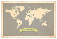 World My Roots Map, Gray on OneKingsLane.com