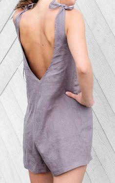 Gray linen overalls, women's shortalls