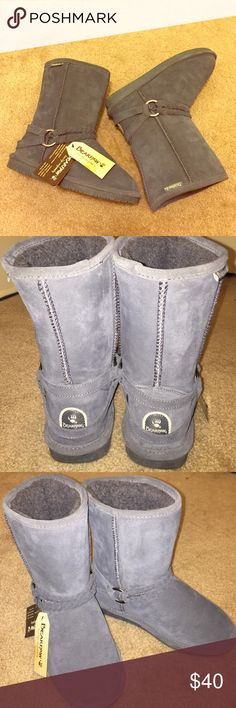 Bearpaw Australian Sheepskin Boots Adorable ugg-like grey boots (bearpaw brand). Braided strap and O-ring embellishment. A clearance find so there are light marks on boot since suede, as well as sole. New and ready for someone to enjoy! I tested these for a bit around the house but I prefer the way my Uggs fit me. Trying to get close to what I paid for them; not including the fees taking from Posh. No low offers please, but reasonable ones are definitely welcome! Smoke/pet free environment…