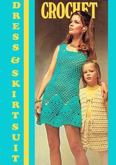 PDF Vintage Womens Ladies FANS Dress Crochet Pattern Shells Tunisian Crochet, Crochet Motif, Knit Crochet, Crochet Patterns, Vintage Knitting, Vintage Crochet, Retro Outfits, Kids Outfits, Mother Daughter Outfits