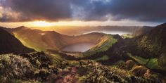 Azores - Sete Cidades Sunset Panorama by Jean Claude Castor