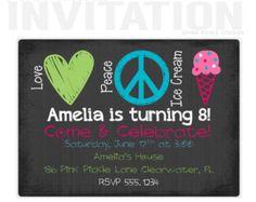 Peace-Zeichen-Einladungen, Eis-Geburtstag-Party-Einladungen, personalisierte danke Karten, Geburtstagseinladungen, Party-Einladungen / No. 136
