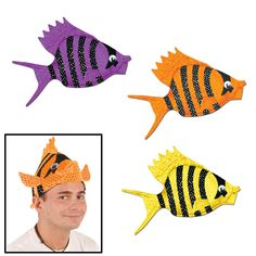 Luau Fish Hat comes in three colors and is made of a soft fabric material. This fish hat can be used for luau or nautical theme parties. If you want to dress up in a fish theme you have to get the fish hat. Novelty fish hat is made of soft material. Luau Party Supplies, Luau Theme Party, Party Themes, Fish Theme, Party Ideas, Theme Parties, Party Favors, Colorful Party, Colorful Fish