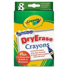 Crayola Washable Dry-Erase Crayons, 8 Classic Crayola Colors with Built In Sharpener & E-Z Erase Cloth Non-Toxic Art Tools for Kids & Toddlers 3 & Up, Easily Wipes Off Any Dry Erase Surface Preschool Supplies, Crayon Set, Crafts For Kids, Arts And Crafts, Dry Erase Markers, Dry Erase Board, Whiteboard, The Book, Frases
