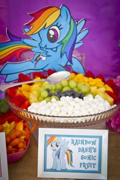 Rainbow fruit at a My Little Pony Birthday Party!  See more party ideas at CatchMyParty.com!