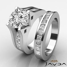 Round Diamond Channel Set Engagement Ring Bridal Set GIA H VS2 Platinum 3 1 Ct | eBay