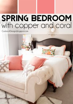 Creating a colorful home with neutral walls using copper, blush and light pinks in this bedroom styling Home Interior, Interior Design, Simple Interior, Contemporary Interior, Blush Bedroom, Grey Coral Bedroom, Neutral Walls, Neutral Paint, Gray Walls