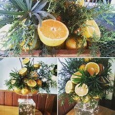 Arranjo de mesa com laranja!