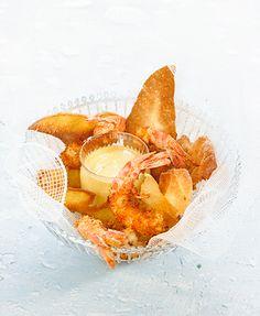 Fish and chips de gambas won-ton