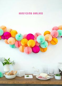 tissue honeycomb ball garland