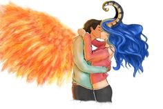 Akiva and Karou by llamangela