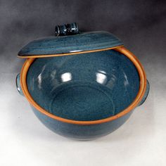 Blue Large Casserole Dish WIth Lid Handthrown Stoneware Pottery 1. via Etsy.