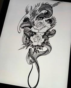 Neue Tattoos, Body Art Tattoos, Small Tattoos, Cool Tattoos, Arabic Tattoos, Hip Tattoos, Tatoos, Dragon Tattoo For Women, Dragon Tattoo Designs