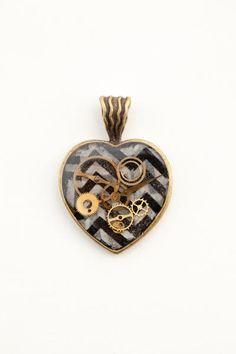 Steampunk Resin Heart Gear Brass  Pendant Style No. by AzuWishShop