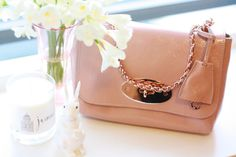 Blush pink Mulberry bags + spring flowers