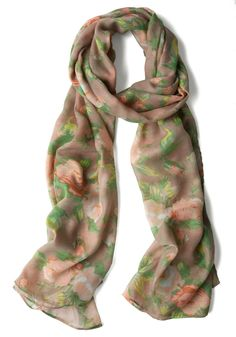 When in Romance Scarf - Casual, Floral, Multi, Green, Pink, Tan / Cream