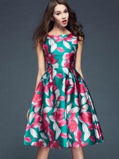 Green Floral Print Sleeveless High Waist Midi Dress