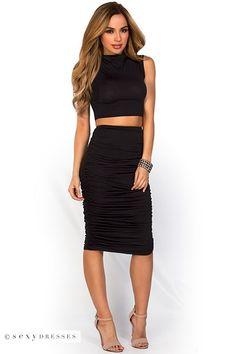 """Leighton"" Black Midi Pencil Skirt and Crop Top 2 Piece Dress Set"