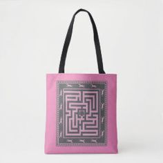 Tote Bag MAZE OF HORSES black on pink Detail Shop, Holiday Photo Cards, Edge Design, Business Supplies, Horse Riding, Maze, Custom Clothes, Gifts For Dad, Reusable Tote Bags