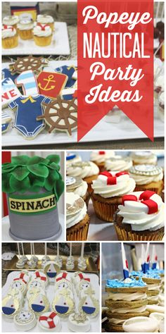 A Popeye boy birthday party for a little sailor with a fabulous cake, cookies and cupcakes!  See more party ideas at CatchMyParty.com!