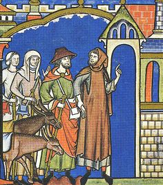 a Levite and his wife, Maciejowski Bible (ca 1250)