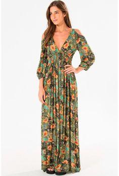 Vestido Longo Farm Chanti - BabadoTop Sexy Dresses, Beautiful Dresses, Dress Outfits, Fashion Dresses, Floral Maxi Dress, Boho Dress, Boho Fashion, Womens Fashion, Special Dresses