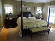Custom green and cream bedding with jute area rug