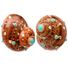 Trianon Villa Seashell Turquoise Diamond Gold Clip Earrings | From a unique collection of vintage clip-on earrings at http://www.1stdibs.com/jewelry/earrings/clip-on-earrings/