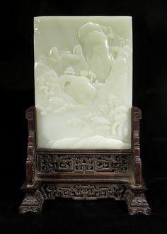 Chinese Kunst, Chinese Table, Chinese Figurines, Wisteria Tree, Asian Art Museum, White Jade, China Art, Chinese Ceramics, Miniature Crafts