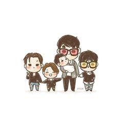 [fanart] #BIGBANG family photo ✨ SOOOOOOOOOO CUTE IM DEAD!!!!!!!!<3