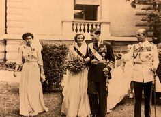 King Michael of Romania (1921-2017): the wedding in Athens of the recently exiled King Michael with Princess Anne of Bourbon-Parma. The couple is flanked by Michael's uncle King Paul of the Hellenes and Queen Frederika