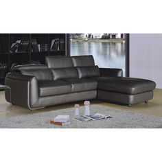 AC Pacific Ron Faux Leather 2-Piece Sectional Sofa