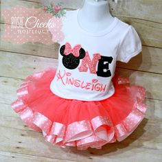 Minnie Mouse Birthday Outfit Mouse Birthday Set by RosieCheeksRCB