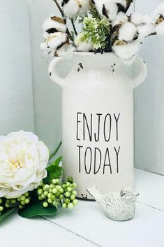 This Rae Dunn inspired, ceramic, milk jug is a great farmhouse style decor piece. It would be so pretty displayed in a china hutch with other RAE DUNN dishes. #ad #raedunn #neverdunn #enjoy #farmhouse #DECOR