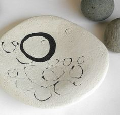 Organic shapes - so zen.  Black Circles Concrete Plate by impurevessels $50.00