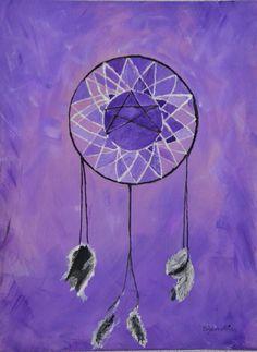 """Gegenständliches Acrylbild """"Traumfänger"""" (Farben: lila weiß, schwarz). - Größe 40x60 cm --- www.elfensteins-acrylmalerei.de"""