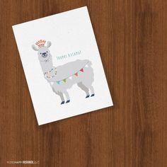 Thanks A Llama Thank You Folded Cards by OneHappyDesignerLLC