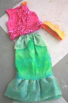 Mermaid costume - use kids' bathing suit top!  (over a long-sleeve shirt for night) and only make the tail